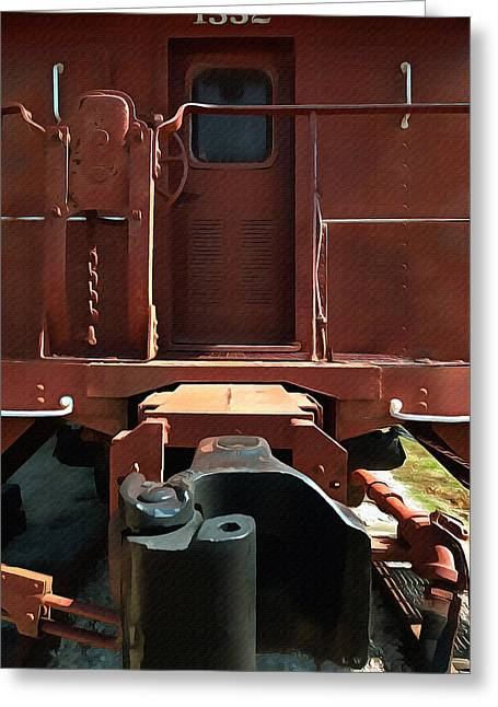 Caboose Paintings Greeting Cards - Santa Fe Caboose Door Greeting Card by L Wright