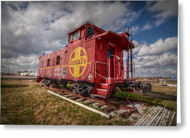 Caboose Digital Greeting Cards - Santa Fe Caboose Greeting Card by Linda Unger