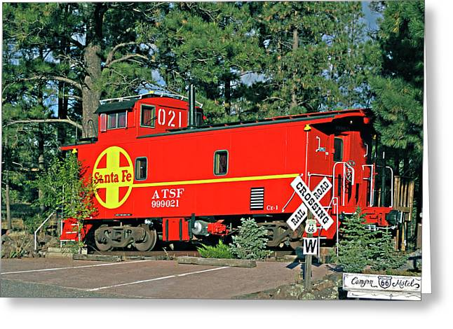 Caboose Greeting Cards - Santa Fe Caboose off Route 66 Greeting Card by Linda Phelps