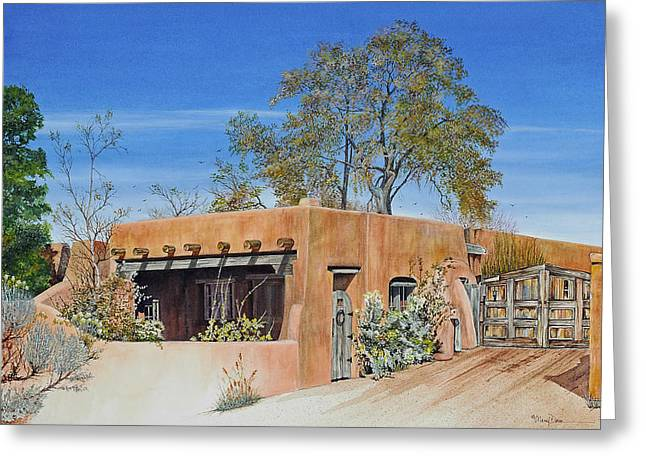 Southwest Gate Print Greeting Cards - Santa Fe Casa Greeting Card by Mary Dove