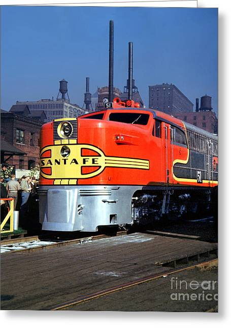 Alco Locomotives Greeting Cards - Santa-Fe Chief 51 Warbonnet Alco PA1  Greeting Card by Wernher Krutein