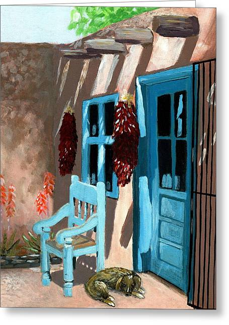 Blue And Brown Greeting Cards - Santa Fe Courtyard Greeting Card by Karyn Robinson