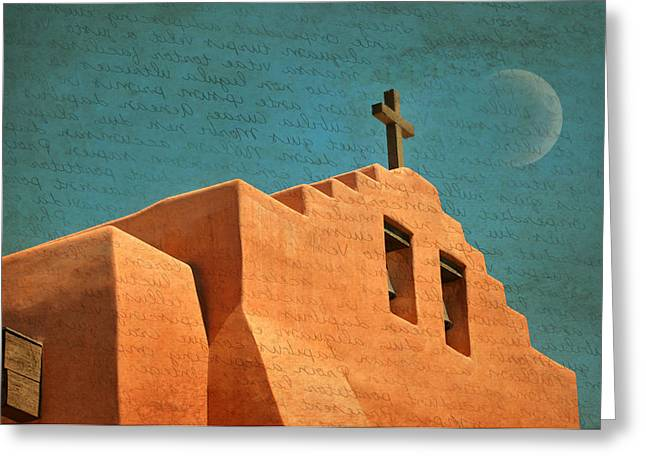 Adobe Greeting Cards - Santa Fe Cross Greeting Card by Diana Angstadt