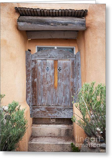 Warm Tones Greeting Cards - Doors of Santa Fe Greeting Card by Roselynne Broussard
