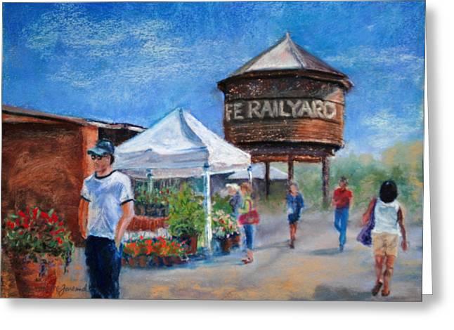 Farmer Pastels Greeting Cards - Santa Fe Farmers Market Greeting Card by Lorraine McFarland