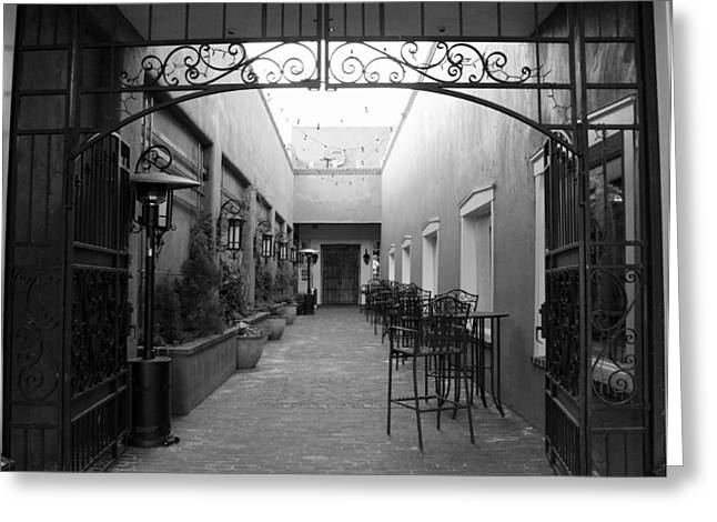 Empty Chairs Greeting Cards - Santa Fe On The Side bw Greeting Card by Elizabeth Sullivan