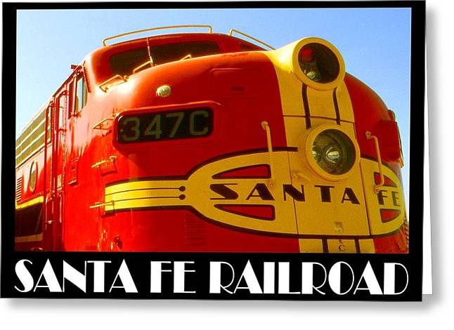 Classic American Railroad Greeting Cards - Santa Fe Railroad Poster Greeting Card by Peter Fine Art Gallery  - Paintings Photos Digital Art