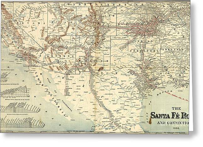 Conversations Drawings Greeting Cards - Santa Fe Railroad Routes  1888 Greeting Card by Pg Reproductions