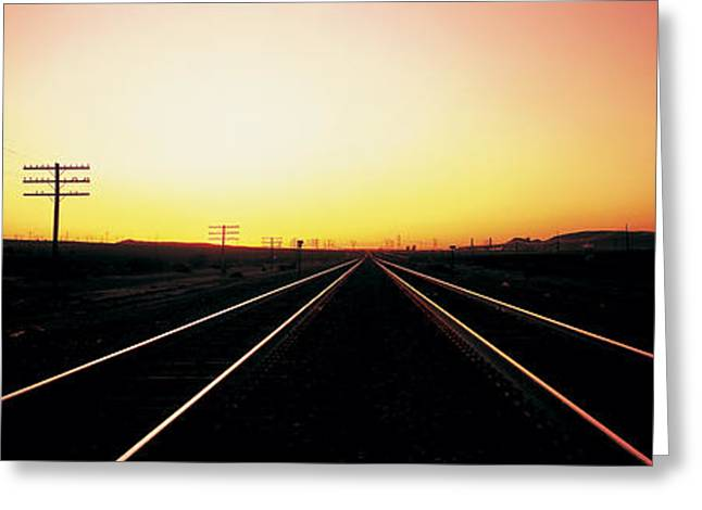 Santa Fe Railroad Tracks, Daggett Greeting Card by Panoramic Images
