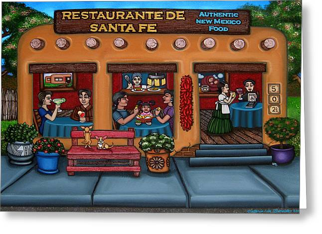 American Food Paintings Greeting Cards - Santa Fe Restaurant TYLER Greeting Card by Victoria De Almeida