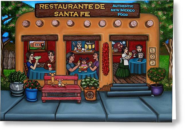 Hispanic Artists Greeting Cards - Santa Fe Restaurant Greeting Card by Victoria De Almeida