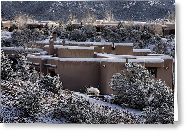 Desert Southwest Greeting Cards - Santa Fe Snowy neighborhood Greeting Card by Dave Dilli