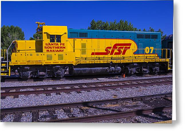 Depot Greeting Cards - Santa Fe Southern Railway Engine Greeting Card by Garry Gay