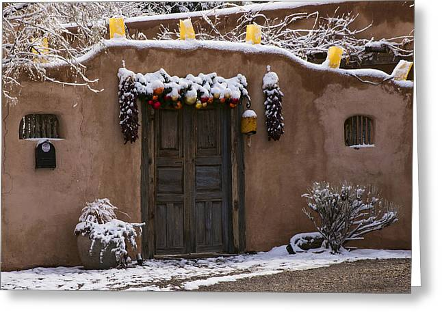 Adobe Greeting Cards - Santa Fe Style Southwestern Adobe door Greeting Card by Dave Dilli