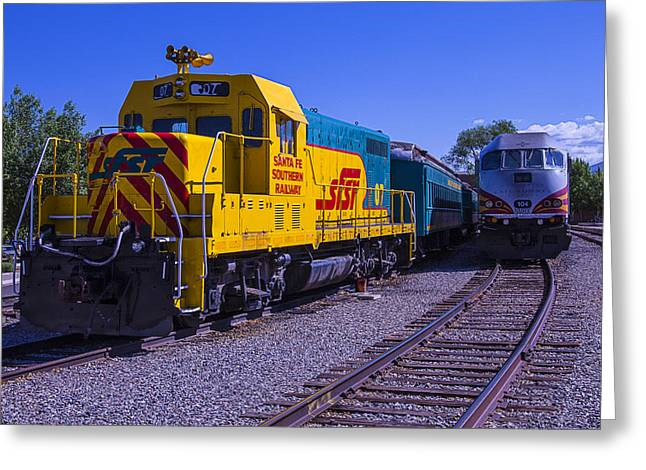 Depot Greeting Cards - Santa Fe Trains Greeting Card by Garry Gay