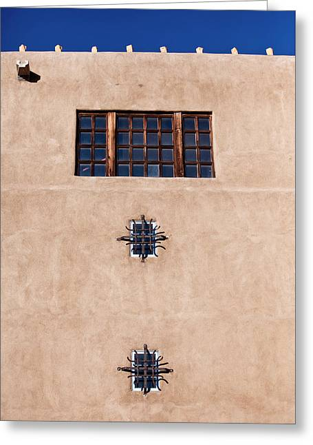 Brown Paper Bag Greeting Cards - Santa Fe Windows Greeting Card by Art Block Collections