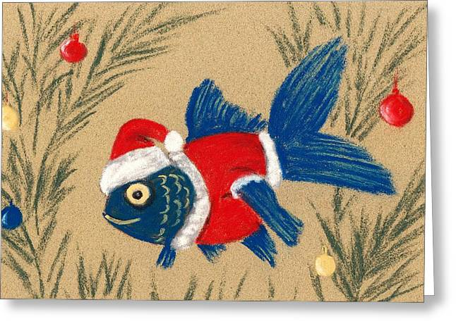 Christmas Pastels Greeting Cards - Santa Fish Greeting Card by Anastasiya Malakhova
