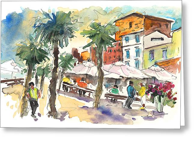 Town Square Drawings Greeting Cards - Santa Flavia 03 Greeting Card by Miki De Goodaboom