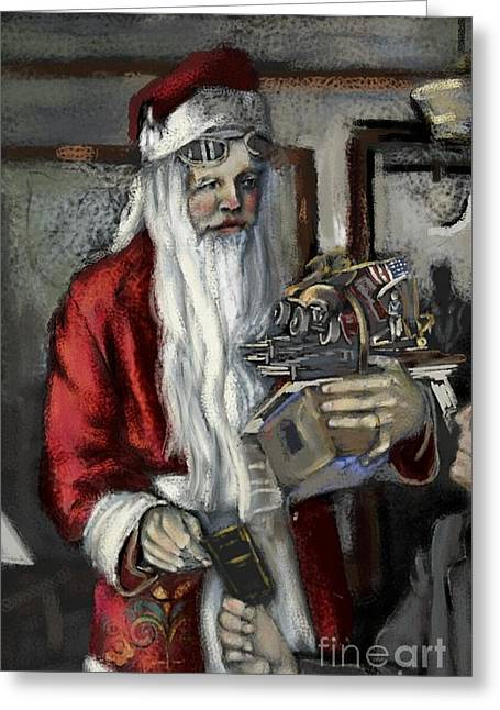Antique Skates Greeting Cards - Santa Gets his Pilots License Greeting Card by Carrie Joy Byrnes