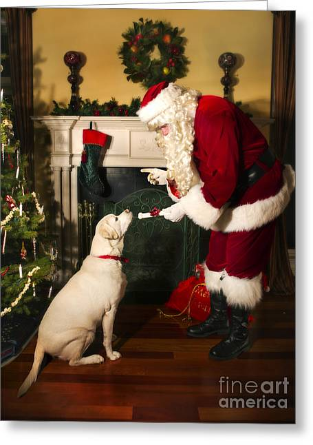 Santa Claus Greeting Cards - Santa Giving the Dog a Gift Greeting Card by Diane Diederich