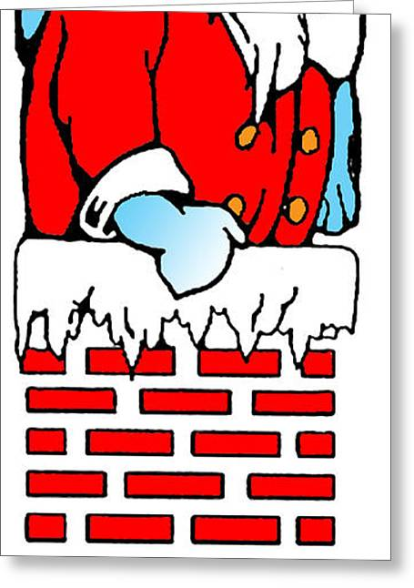 Christmas Eve Greeting Cards - Santa goes down the chimney. Greeting Card by Art  MacKay