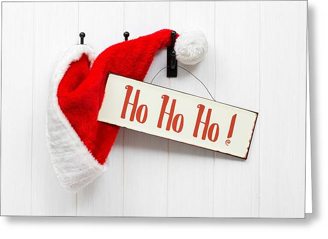 Santa Hat and Sign Greeting Card by Amanda And Christopher Elwell