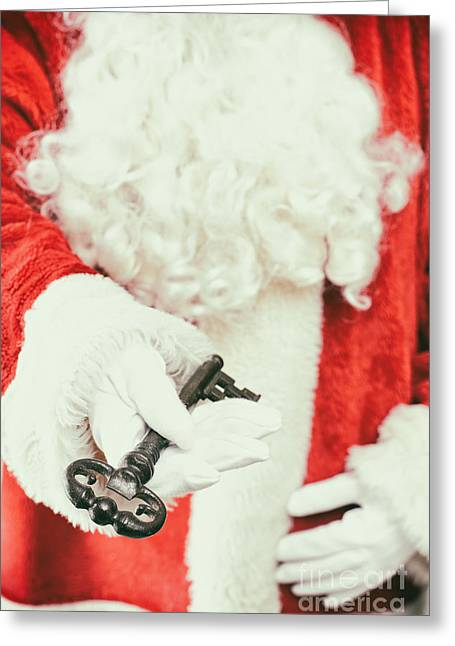 Nicholas Greeting Cards - Santa Holding Key Greeting Card by Amanda And Christopher Elwell