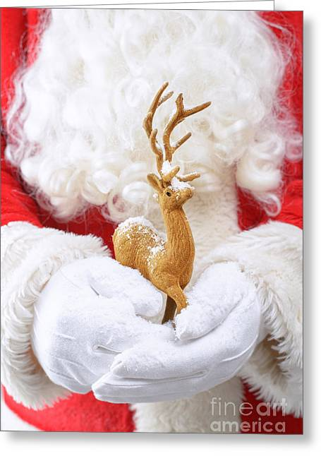 Nicholas Greeting Cards - Santa Holding Reindeer Figure Greeting Card by Amanda And Christopher Elwell