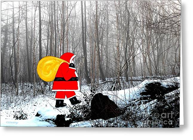 Santa In Christmas Woodlands Greeting Card by Patrick J Murphy