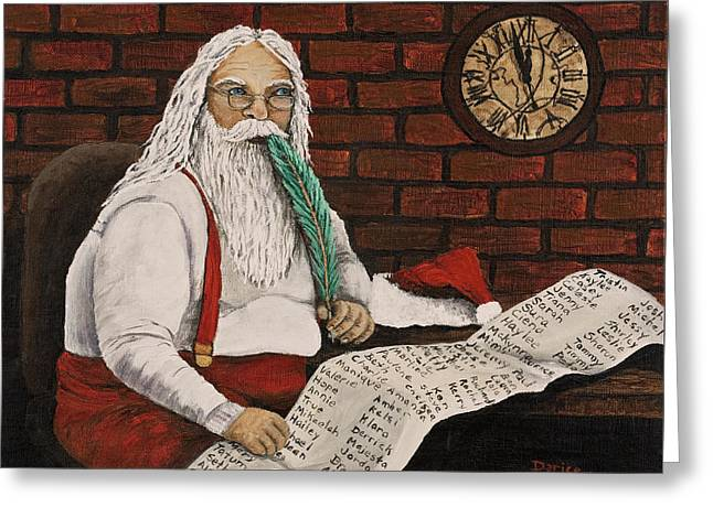 Santa Is Checking His List Greeting Card by Darice Machel McGuire
