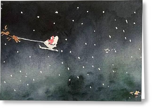 Christmas Greeting Greeting Cards - Santa is Coming Greeting Card by Yoshiko Mishina