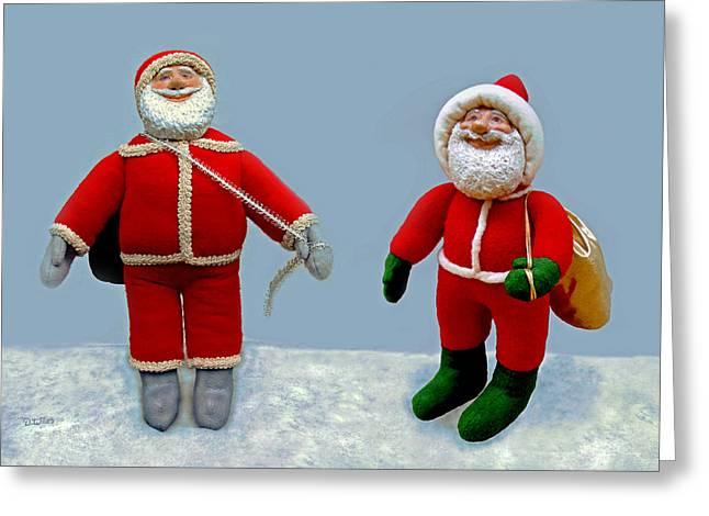 Santa Jr. And Sr. Greeting Card by David Wiles