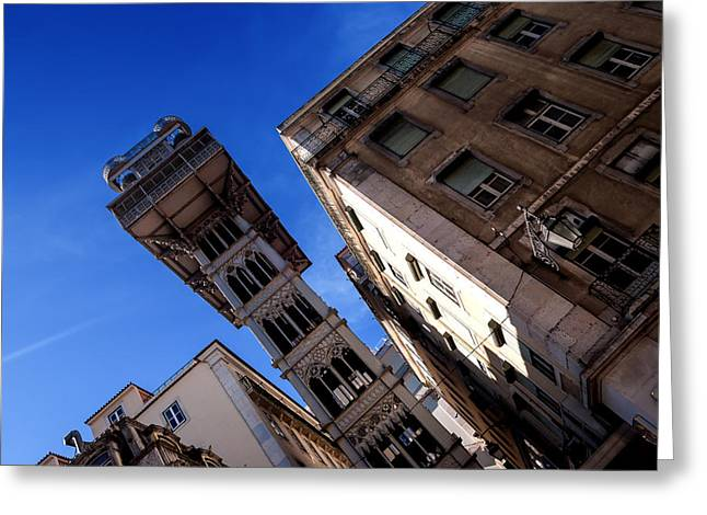 Spiral Staircase Greeting Cards - Santa Justa Elevator I Greeting Card by Marco Oliveira