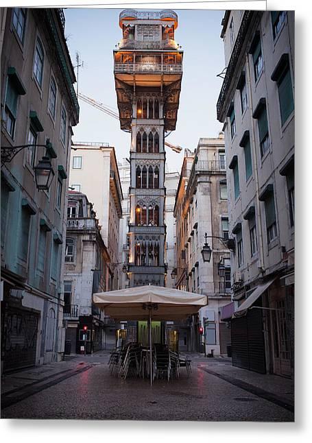 Neogothic Greeting Cards - Santa Justa Elevator in Lisbon Greeting Card by Artur Bogacki