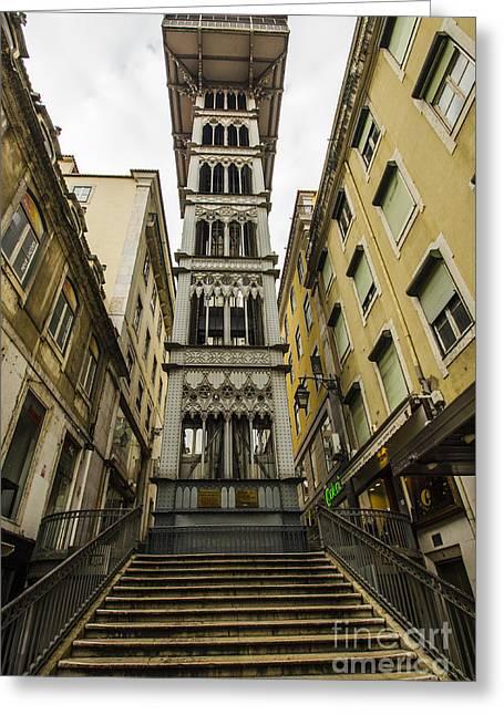 Flight Of Stairs Greeting Cards - Santa Justa Lift Greeting Card by Deborah Smolinske