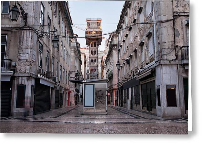 Neogothic Greeting Cards - Santa Justa Lift in Lisbon Greeting Card by Artur Bogacki