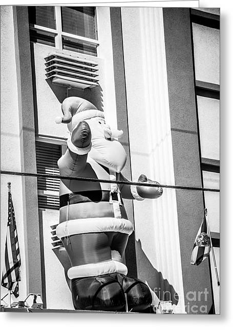 Patriot Photography Greeting Cards - Santa Key West Style - Black and White Greeting Card by Ian Monk