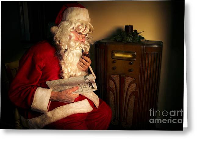 Concern Photographs Greeting Cards - Santa Listening to the Weather Report Greeting Card by Diane Diederich