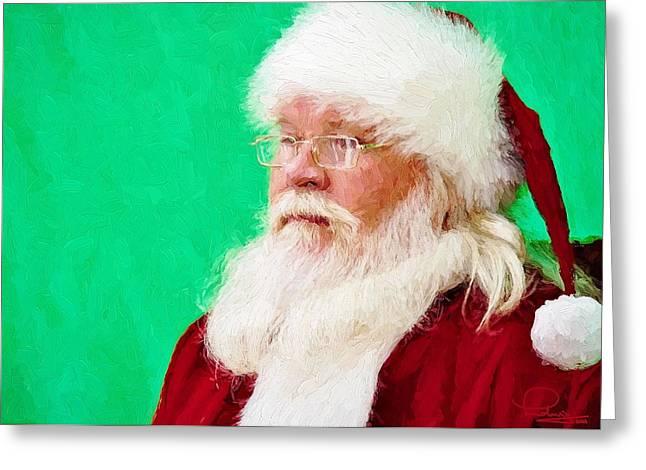 Old Saint Nick Greeting Cards - Santa Greeting Card by Ludwig Keck