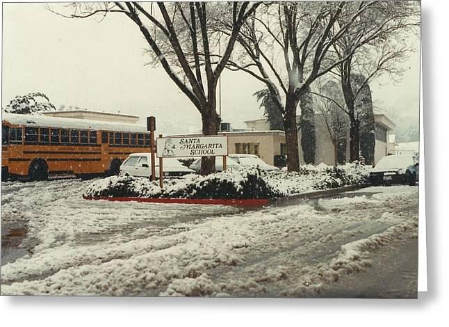 Atascadero Greeting Cards - Santa Margarita School SNOW Greeting Card by Lili Ludwick