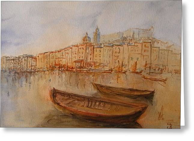 Genoa Paintings Greeting Cards - Santa Margherita Ligure Greeting Card by Juan  Bosco