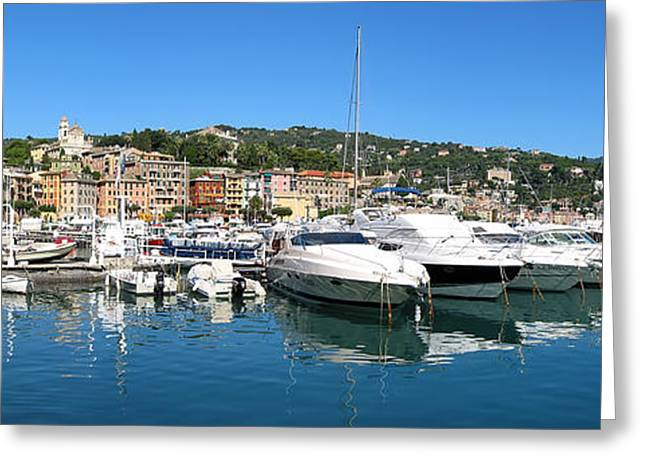 Portofino Italy Art Greeting Cards - Santa Margherita Ligure Panoramic Greeting Card by Adam Romanowicz