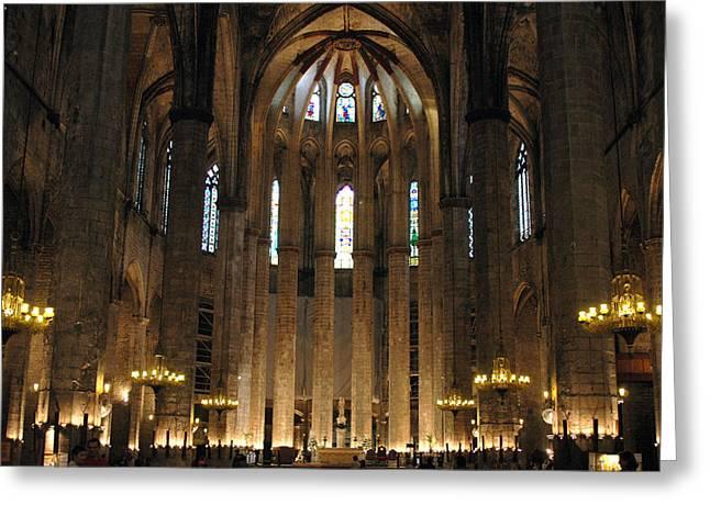 Santa Maria Del Mar Basilica II Greeting Card by Kathy Schumann