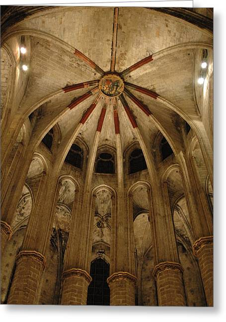 Kathy Schumann Greeting Cards - Santa Maria del Mar Basilica IV Greeting Card by Kathy Schumann