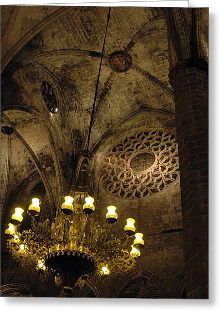 Santa Maria Del Mar Basilica V Greeting Card by Kathy Schumann