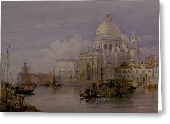 Church Architecture Greeting Cards - Santa Maria Della Salute From The Grand Canal, Venice, 19th Century Watercolour Greeting Card by William Leighton Leitch