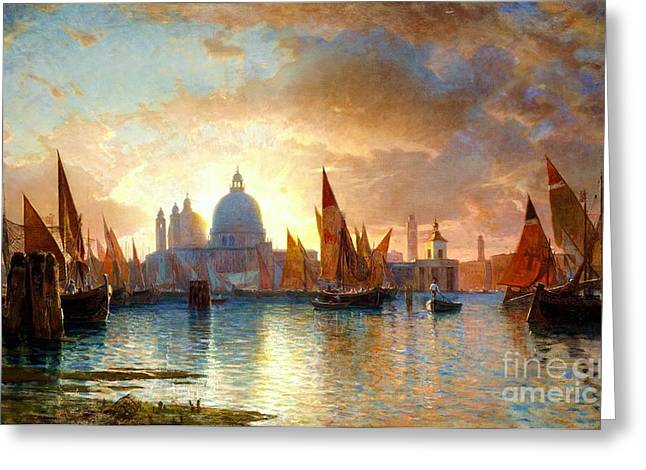 C.1870 Greeting Cards - Santa Maria della Salute - Sunset Greeting Card by Pg Reproductions