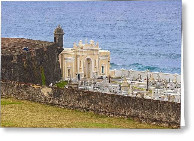 Historic Site Greeting Cards - Santa Maria Magdalena de Pazzis Cemetery at Old San Juan Greeting Card by Sandra Pena de Ortiz