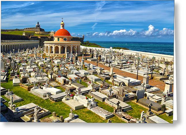 Old San Juan Greeting Cards - Santa Maria Magdalena de Pazzis Cemetery  Greeting Card by Mitch Cat