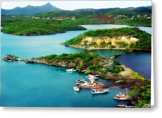 Antilles Greeting Cards - Santa Martha Baai Curacao Greeting Card by Photodream Art